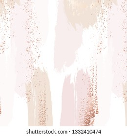 Vector repetition pattern in tender beige, pink colors with rose gold glitters. Vector grunge abstract background. Wedding decoration design.  Seamless foil