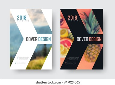 vector report cover template in a minimalistic style with a place for a photo. Design flyer with an arrow, white and black modern version of the brochure. blurred photo for an example