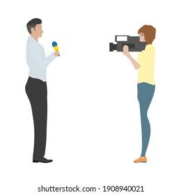 vector reporter and tv camera operator