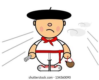 Vector representing Kiki dress of boy runner in Pamplona