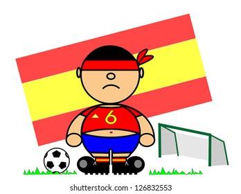 Vector representing Kiki dress of footballer and flag of Spain