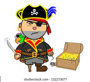 Vector representing Kiki dress pirate with parrot and treasure