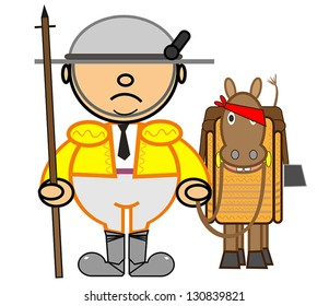 Vector representing Kiki dress of white and gold picador and his horse