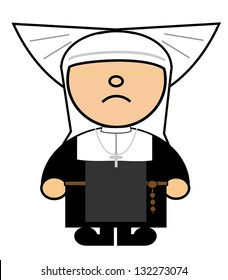 Vector representing Maru dress of Catholic nun with wings