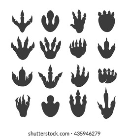 Vector reptile footprints. Dinosaur tracks black icons