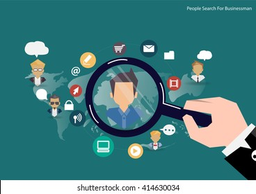 Vector research people concept of human resources management, professional staff research, head hunter job with magnifying glass. Human resources illustration in flat style