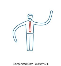 Vector resilience and flexibility skills icon of businessman with long hands | modern flat design soft skills linear illustration and infographic red and blue on white background