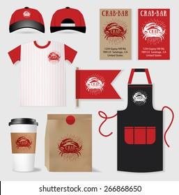 Vector restaurant cafe bar set, package, t-shirt, cap, uniform design/ layout set of corporate identity template.