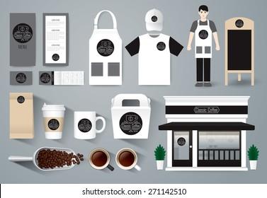 Vector restaurant cafe design set, shop design, menu, package, uniform design / layout set of corporate identity mock up template. Black and white tones.