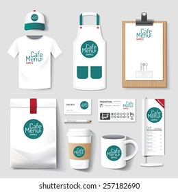 Vector restaurant cafe set flyer, menu, package, t-shirt, cap, uniform design/ layout set of corporate identity mock up template.