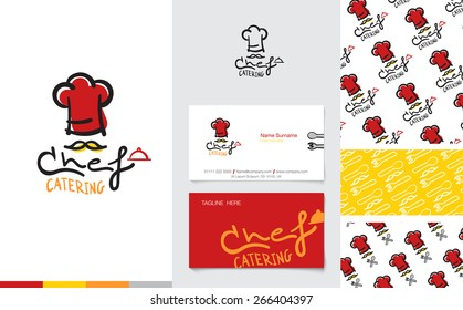 Vector : Restaurant and Catering Logo with business name card and corporate pattern in cartoon style, Branding concept.