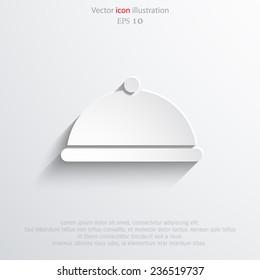 Vector restaurant cloche web flat icon. Eps 10 illustration.