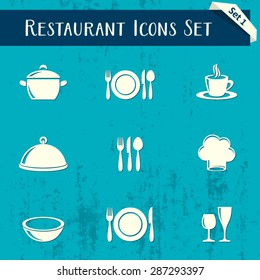 Vector restaurant icons retro collection on blue background