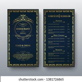 vector restaurant menu gold template.