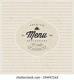Vector Restaurant Menu label design. Label instant color change. Layered file (background, label, texture).