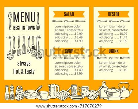 vector restaurant menu template crockery cutlery stock vector