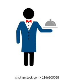 vector restaurant waiter with tray. service illustration, catering sign symbol
