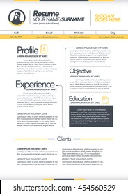 vector resume template cv brochure layoutmagazine stock vector