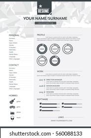 Vector resume template. CV, Brochure layout,magazine