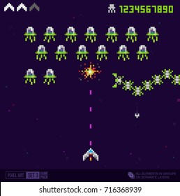 Vector Reto Arcade Game Pixel art style Ufo and spaceship template. Pixel explosion. Vintage 8 bit game trendy 80s style