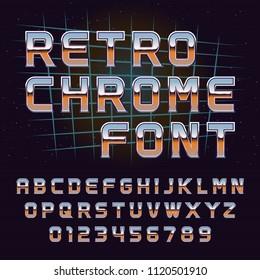 Vector retro 80's chrome font