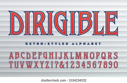 Vector retro alphabet; Condensed font with large pointed serifs. This lettering is similar to both 1930s art deco type and 1960s or 1970s rock album typography. Dirigible means zeppelin or blimp.