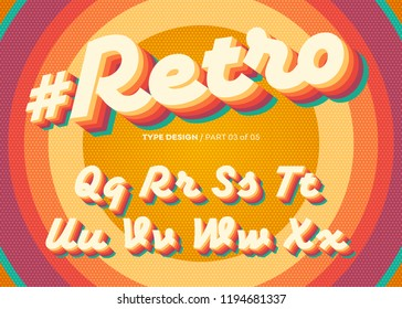 Vector Retro Alphabet Design. Vintage 3D Typeface with Colorful Rainbow Layers. Decorative Letters in 70s Style. Funky Typeset for Poster or Banner. Trendy Classic Cursive on Retro Circle Background.