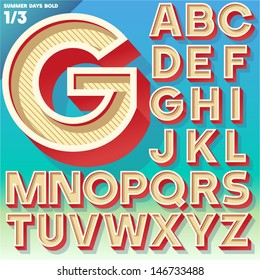 Vector retro alphabet for Summer typography design. Simple Bold Style. Upper cases