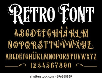 Vector retro alphabet. Vintage font. Typography for labels, headlines, posters etc.