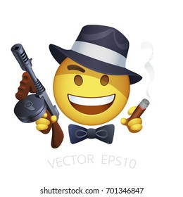 Vector retro American gangster smiley with a Thompson machine gun and a smoking cigar. Yellow emoji of criminal character with a black hat, bow tie and tommy gun. Mafia emoticon on a white background.
