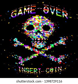 vector retro arcade style game over skull and crossbones illustration tee print graphic design