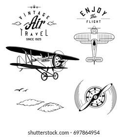 vector retro aviation logos and objects, clip art, monogram
