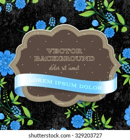 Vector retro background with floral ornament and a cardboard banner with blue silky ribbon. Blue flowers on black