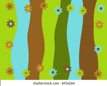 Vector retro background with wavy stripes and flower border.