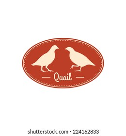 Vector retro badge with quail silhouettes. Oval shaped.