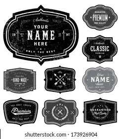 Vector retro badge set. Great for logos,  badges, and seals. All layers are separated, included distressed overlays.
