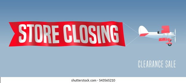 Vector retro biplane with wavy banner for store closing illustration. Clearance sale advertising design element