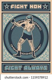 Vector Retro Boxer Poster, Decorative Ornate Background