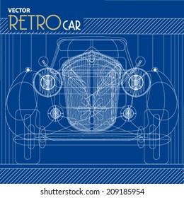 Vector Retro Car blueprint background illustration