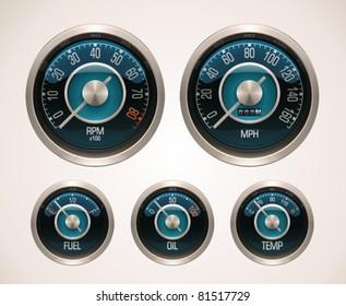 Vector retro car gauges icon set