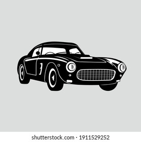 Vector Retro Car, Illustration Classic Car, Vintage Style