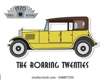 Vector Retro Car from the Twenties The Roaring Twenties Automobile