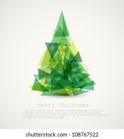 Vector retro card with abstract green christmas tree