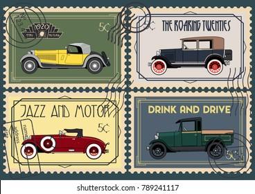 Vector Retro Cars from the Roaring Twenties Postal Stamp Set