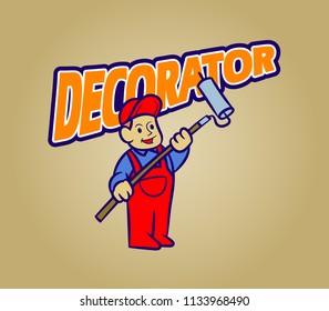 Vector retro cartoon of decorator