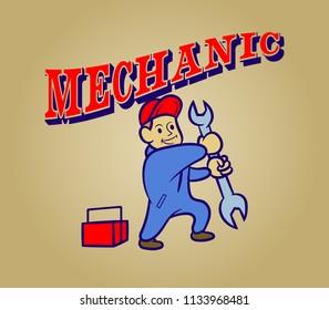 Vector retro cartoon of mechanic