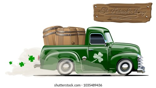 Vector retro cartoon pick-up truck with beer barrels for Happy Saint Patrick's Day Irish celebration design. Beer festival lettering on wood board. EPS-10 separated by groups and layers.