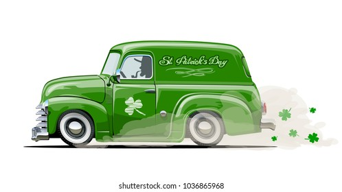 Vector retro cartoon van with Beer festival lettering for Happy Saint Patrick's Day. Irish celebration design. EPS-10 separated by groups and layers.