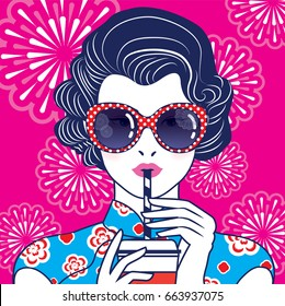 Vector of Retro Chinese Lady Drink with a straw on fireworks pattern background.