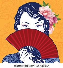 Vector of Retro Chinese Lady holding a fan on yellow chinese pattern background.